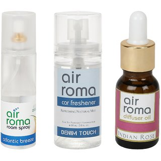AirRoma Combo of Atlantic Breeze Air Freshener Spray 200ml, Denim Touch Car Freshener 60ml  Indian Rose Aroma Oil 15ml