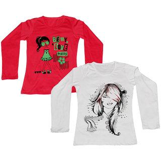 IndiWeaves Women Cotton Round Neck Full Sleeves Printed T-Shirt (Set of -2)