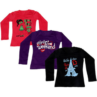 IndiWeaves Women Cotton Round Neck Full Sleeves Printed T-Shirt (Set of -3)