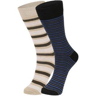 DUKK Men's Beige  Blue Glean Length Cotton Lycra Socks (Pack of 2)