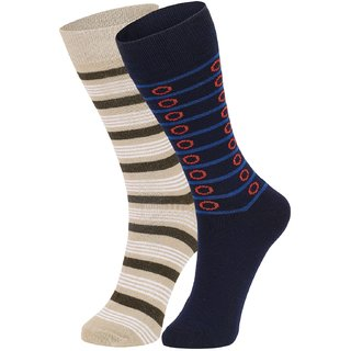 DUKK Men's Beige  Navy Blue Glean Length Cotton Lycra Socks (Pack of 2)