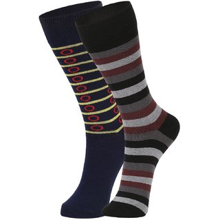 DUKK Men's Multicolour Glean Length Cotton Lycra Socks (Pack of 2)