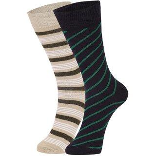 DUKK Men's Beige  Navy Blue Glean Length Cotton Lycra Socks (Pack of 2)