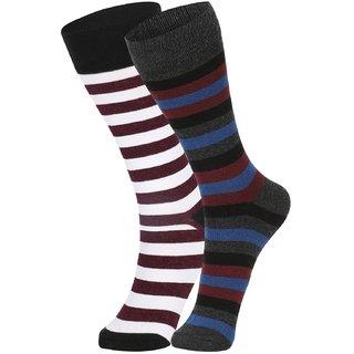 DUKK Men's Multicolour Glean Length Cotton Lycra Socks (Pack of 2)