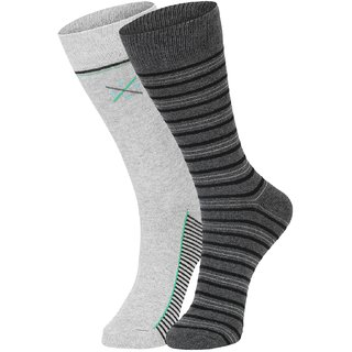 DUKK Men's Grey Glean Length Cotton Lycra Socks (Pack of 2)