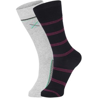 DUKK Men's Grey  Magenta Glean Length Cotton Lycra Socks (Pack of 2)