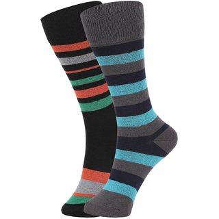 DUKK Men's Green  Turquoise Glean Length Cotton Lycra Socks (Pack of 2)