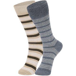DUKK Men's Beige  Grey Glean Length Cotton Lycra Socks (Pack of 2)