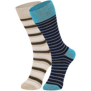 DUKK Men's Beige  Turquoise Glean Length Cotton Lycra Socks (Pack of 2)
