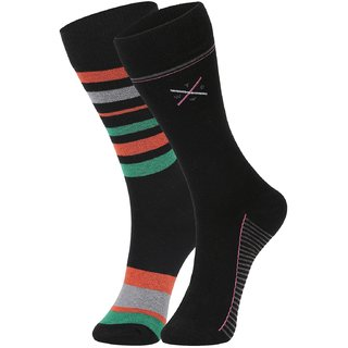 DUKK Men's Green  Black Glean Length Cotton Lycra Socks (Pack of 2)