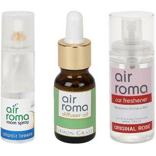 AirRoma Combo of Atlantic Breeze Air Freshener Spray 200ml, Lemon Grass Aroma Oil 15ml  Original Rose Car Freshener 60ml