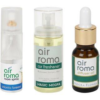 AirRoma Combo of Atlantic Breeze Air Freshener Spray 200ml, Magic Mogra Car Freshener 60ml  Mogra Flower Aroma Oil 15ml