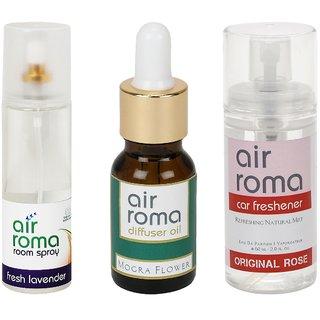 AirRoma Combo of Fresh Lavender Air Freshener Spray 200ml, Mogra Flower Aroma Oil 15ml  Original Rose Car Freshener 60ml