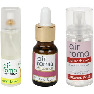 AirRoma Combo of Green Lemon Air Freshener Spray 200ml, Indian Rose Aroma Oil 15ml  Original Rose Car Freshener 60ml