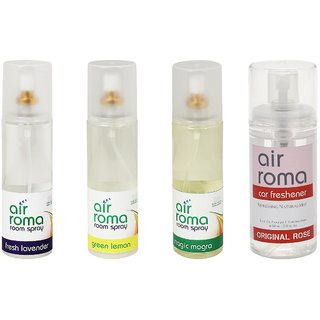 AirRoma Combo of 4, Atlantic Breeze Aroma Oil 30ml, Denim Touch Car Freshener 60ml, Fresh Lavender Air Freshener Spray 200ml  Magic Mogra Car Freshener 60ml
