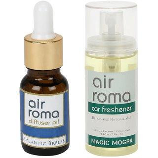 AirRoma Combo of Atlantic Breeze Aroma Oil 30ml  Magic Mogra Car Freshener 60ml
