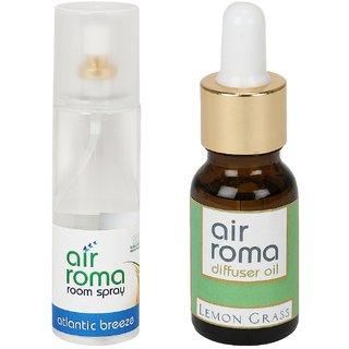 AirRoma Combo of Atlantic Breeze Air Freshener Spray 200ml  Lemon Grass Aroma Oil 15ml