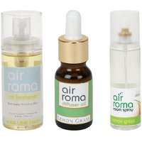 AirRoma Combo Of Aqua Lime Fresh Car Freshener 60ml  Lemon Grass Aroma Oil 15ml  Air Freshener Spray 200ml