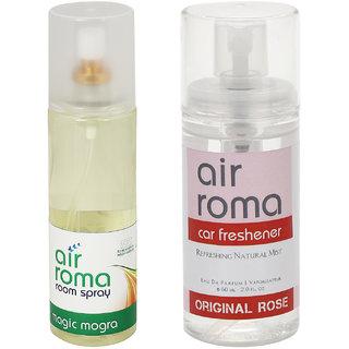 AirRoma Combo of Magic Mogra Air Freshener Spray 200ml  Original Rose Car Freshener 60ml