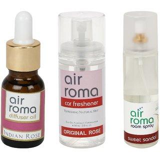 AirRoma Combo of Indian Rose Aroma Oil 15ml, Original Rose Car Freshener 60ml  Sweet Sandal Air Freshener Spray 200ml