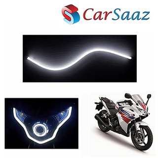 Carsaaz Flexible 30cm Bike Headlight Neon Light/Tube for  Bajaj Discover 125 - White