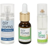 AirRoma Combo Of Denim Touch Car Freshener 60ml  Lemon Grass Aroma Oil 15ml  Air Freshener Spray 200ml