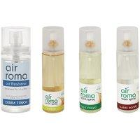 AirRoma Combo Of 4, Denim Touch Car Freshener 60ml, Jasmine Air Freshener Spray 200ml, Magic Mogra Air Freshener Spray 200ml  Sweet Sandal Air Freshener Spray 200ml