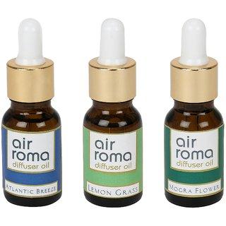 AirRoma Combo of 3 Atlantic Breeze, Lemon Grass  Mogra Flower Aroma Oils 15ml each