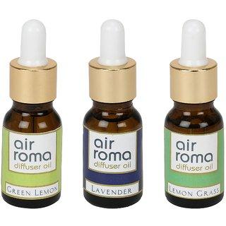 AirRoma Combo of 3 Green Lemon, Lavender  Lemon Grass Aroma Oils 15ml each