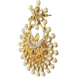 Kriaa Kundan Austrian Stone Pearl Gold Plated Dangle Earrings-1303756
