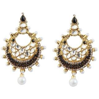 Kriaa Kundan Black Austrian Stone Pearl Gold Plated Chandbali Earrings-1303784