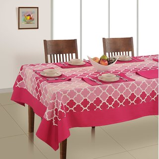 Soumya Abstract Printed Cotton Table Cover Set, 1 Table Cover 6 Seater With 6 Napkins
