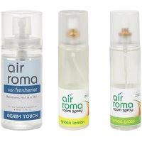 AirRoma Combo Of Green Lemon  Lemon Grass Air Freshener Sprays 200ml  Denim Touch Car Freshener 60ml