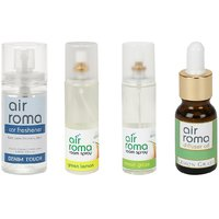 AirRoma Combo Of 4, Denim Touch Car Freshener 60ml, Green Lemon Air Freshener Spray 200ml, Lemon Grass Air Freshener Spray 200ml  Lemon Grass Aroma Oil 30ml