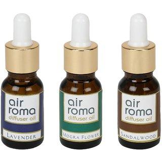 AirRoma Combo of 3 Lavender, Mogra Flower  Sandalwood Aroma Oils 15ml each