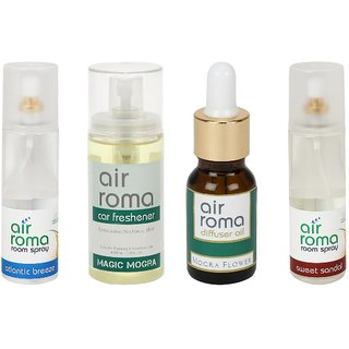 AirRoma Combo of 4, Atlantic Breeze Air Freshener Spray 200ml, Magic Mogra Car Freshener 60ml, Mogra Flower Aroma Oil 30ml  Sweet Sandal Air Freshener Spray 200ml