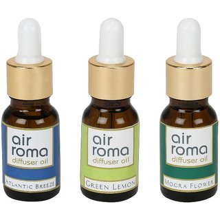AirRoma Combo of 3 Atlantic Breeze, Green Lemon  Mogra Flower Aroma Oils 30ml Each