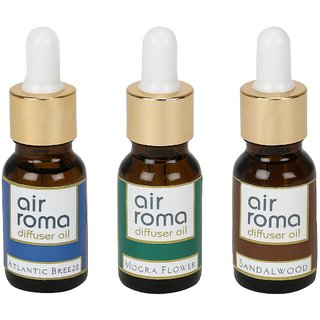 AirRoma Combo of 3 Atlantic Breeze, Mogra Flower  Sandalwood Aroma Oils 30ml Each