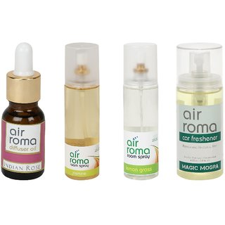 AirRoma Combo of 4, Atlantic Breeze Aroma Oil 30ml, Denim Touch Car Freshener 60ml, Fresh Lavender Air Freshener Spray 200ml  Magic Mogra Car Freshener 60ml