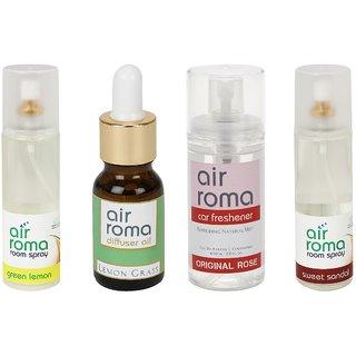 AirRoma Combo of 4, Green Lemon Air Freshener Spray 200ml, Lemon Grass Aroma Oil 30ml, Original Rose Car Freshener 60ml  Sweet Sandal Air Freshener Spray 200ml
