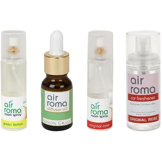 AirRoma Combo of 4, Green Lemon Air Freshener Spray 200ml, Lemon Grass Aroma Oil 30ml, Original Rose Air Freshener Spray 200ml  Original Rose Car Freshener 60ml