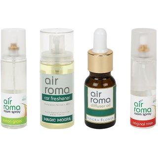 AirRoma Combo of 4, Lemon Grass Air Freshener Spray 200ml, Magic Mogra Car Freshener 60ml, Mogra Flower Aroma Oil 30ml  Original Rose Air Freshener Spray 200ml
