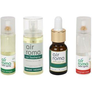 AirRoma Combo of 4, Magic Mogra Air Freshener Spray 200ml, Magic Mogra Car Freshener 60ml, Mogra Flower Aroma Oil 30ml  Original Rose Air Freshener Spray 200ml