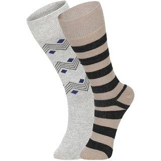 DUKK Men's Grey  Beige Glean Length Cotton Lycra Socks (Pack of 2)