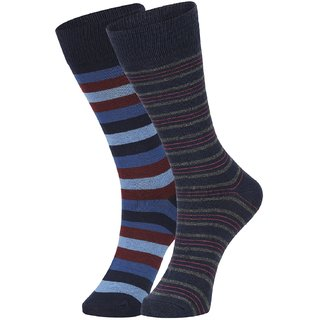 DUKK Men's Blue  Navy Blue Glean Length Cotton Lycra Socks (Pack of 2)