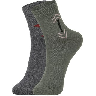 DUKK Men's Grey  Green Ankle Length Cotton Lycra Socks (Pack of 2)