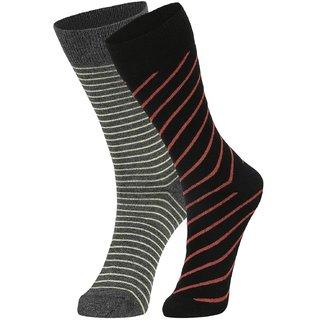 DUKK Men's Yellow  Black Glean Length Cotton Lycra Socks (Pack of 2)