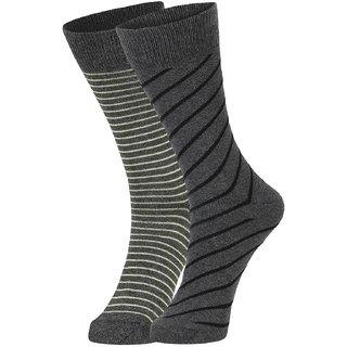 DUKK Men's Yellow  Grey Glean Length Cotton Lycra Socks (Pack of 2)