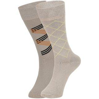 DUKK Men's Beige Glean Length Cotton Lycra Socks (Pack of 2)