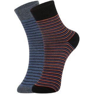 DUKK Men's Blue  Orange Ankle Length Cotton Lycra Socks (Pack of 2)
